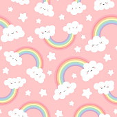 Cloud Background, Rainbow Seamless Pattern, Cartoon Vector Illustration,  Sky Background for Kid