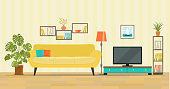 Living room interior. Furniture: sofa, bookcase, tv, lamps. Flat style vector illustration