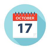 October 17 - Calendar Icon - Vector Illustration