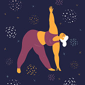 Body positive woman is stretching. Plus size model makes asana in the space. Young girl bent down to her legs.  Zen relaxation. How to do yoga exercise utthita trikonasana. Flat vector illustration