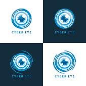 Set of cyber eye symbol icon. vector illustration, Template design