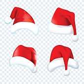 Santa Claus red hat silhouette. Set red hat isolated on transparent background. Vector