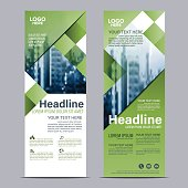 greenery roll up layout template. flag flyer business banner backdrop design. vector illustration background
