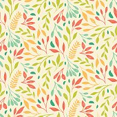 Colorful bright floral print of leaf. Vector seamless pattern.