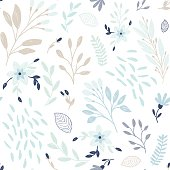 Cute floral print with flowers and leaf. Vector seamless pattern.