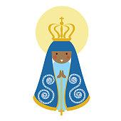 Our Lady of Aparecida is Nossa Senhora Aparecida patroness of Brazil. Blessed Virgin Mary flat vector.