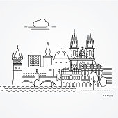 Linear illustration of Prague, Czech Republic. Flat one line style. Trendy vector illustration. Architecture line cityscape with famous landmarks, city sights, design icons. Editable strokes