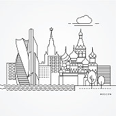 Linear illustration of Moscow, Russia. Flat one line style. Trendy vector illustration. Architecture line cityscape with famous landmarks, city sights, design icons. Editable strokes
