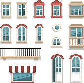 Vector illustration of different opened and closed windows and doors elements isolated on white.