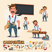 carpenter in various actions with wood work tool. character design with typographic - vector illustration