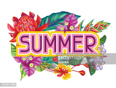 Print with Thailand flowers. Tropical multicolor plants, leaves and buds : Vektorgrafik