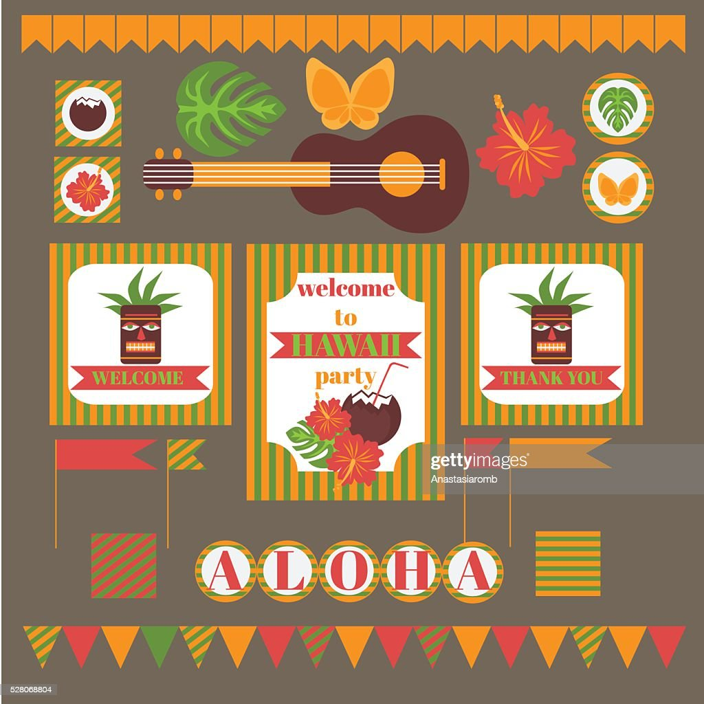 Printable set of hawaii party elements template luau invitation printable set of hawaii party elements template luau invitation vector art stopboris Choice Image