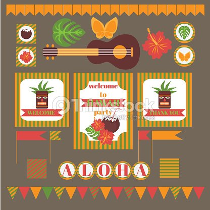 Printable set of hawaii party elements template luau invitation printable set of hawaii party elements template luau invitation vector art stopboris Gallery