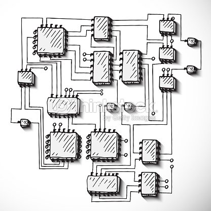 Prime Printed Circuit Board Hand Drawn Stock Vector Thinkstock Wiring 101 Akebretraxxcnl