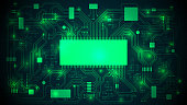 Printed circuit board with a processor, microchips and binary code. Abstract high-tech electronic background, copy space, template; well organized layers