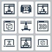 3D printer vector icons set