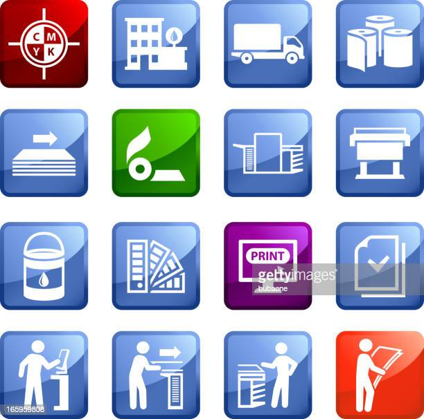 Printing and Publishing Industry sixteen vector icon set stickers