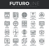 Modern thin line icons set of 3D printing, 3D modeling and scanning technology. Premium quality outline symbol collection. Simple mono linear pictogram pack. Stroke vector symbol concept for web graph