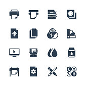 Printing vector icon set in glyph style