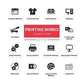Printing works - line design silhouette icons set. High quality black pictogram. Book, prepress, postpress, calendar, textile, visiting card, offset, digital, risograph, broadsheet, embossing, cd, dvd