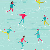 Winter seamless pattern with ice-skating people characters. Vector illustration.
