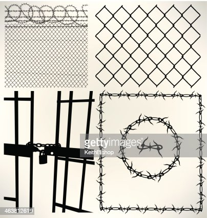 Prison Fence Graphic prison barbed wire chain link fence vector art | getty images