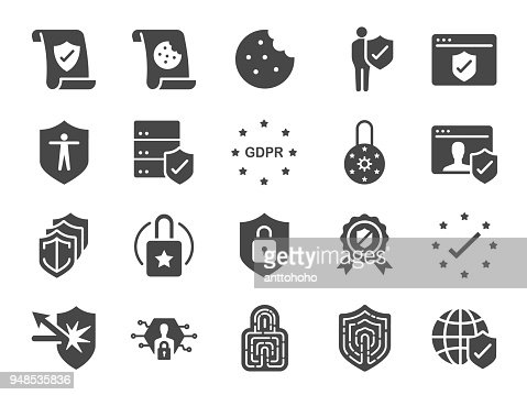 Privacy policy icon set. Included the icons as security information, GDPR, data protection, shield, cookies policy, compliant, personal data, padlock and more : stock vector