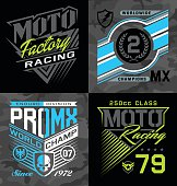 Motocross, sports-inspired emblem graphics suitable for modification.
