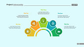 Process chart with five elements. Step diagram, pie chart, layout. Creative concept for infographics, presentation, project, report. Can be used for topics like management, strategy, planning.