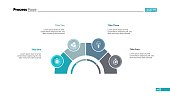 Process chart with four elements. Step diagram, pie chart, layout. Creative concept for infographics, presentation, project, report. Can be used for topics like strategy, planning.