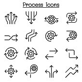 Process icon set in thin line style