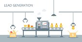 Lead generation vector concept. Process of leads production on the conveyor belt. Marketing concept in flat style.