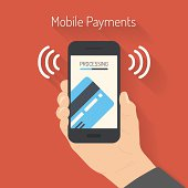 Flat design style vector illustration of modern smartphone with the processing of mobile payments from credit card on the screen. Near field communication technology concept. Isolated on red backgroun