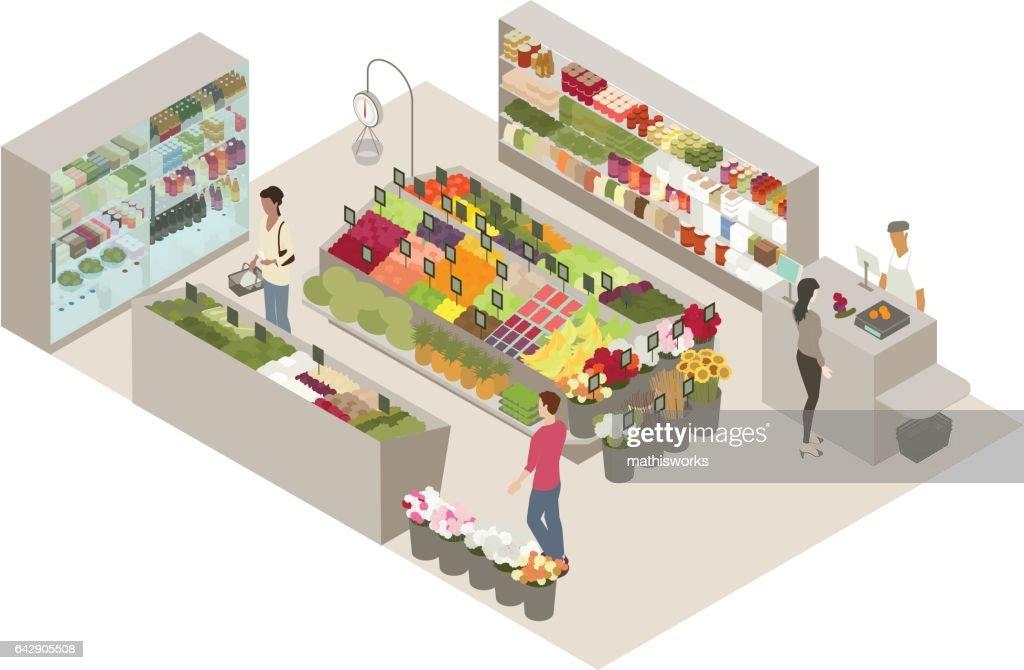 Produce shop illustration : Vector Art