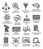 Product management icons on white background