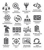 Product management icons on white background