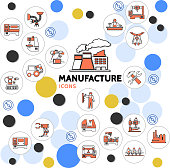 Production linear icons collection with plant engineer technician conveyor belt assembly line robotic arms industrial equipment in colorful circles isolated vector illustration