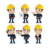 Profession - builder. worker. engineer with different poses