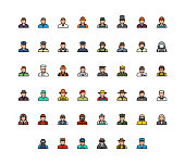 Profession colorful avatars vector icon set in thin line style