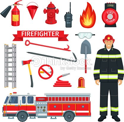 Profession of fireman or firefighter vector tools