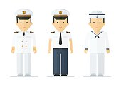 Set of sailor man in uniform. Objects isolated on white background. Flat cartoon vector illustration.
