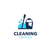 Professional cleaning company logo design. Modern flat design style for your company branding.
