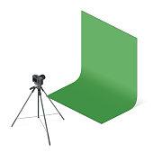 Photo Camera Isometric view. Vector flat illustration.