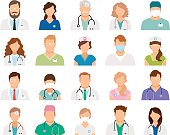 Professional doctor avatars isolated on white background. Medicine professionals and medical staff people icons vector illustration