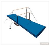 Illustration of Uneven Bars with Gymnastics Mat for Professional Artistic Gymnastic Challenge Isolated on White Background.