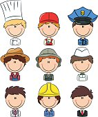 Collection of cute various professional people avatars