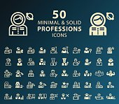 Set of 50 Professions Minimal and Solid Icons. Vector Isolated Elements.