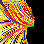 profile of a beautiful woman with flying hair, made of multicolorful stripes.