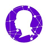 Profile of the head of a man. Scientific medical design. Molecule and communication pattern. Round icon with texture from connected lines with dots.