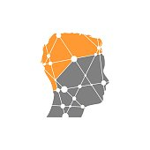 Profile of the head of a man. Scientific medical designs. Molecule And Communication Background. Connected lines with dots.